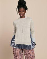 Yigal Azrouël Woven Combo Silk Cashmere Sweater - Multicolor