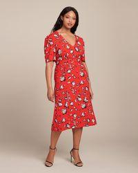 Veronica Beard Joia Floral Midi Dress - Red