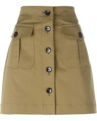 Burberry Brit - Buttoned Front Skirt - Lyst