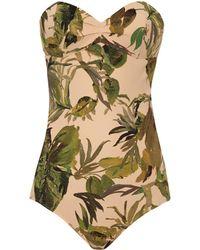 Tomas Maier Atomic Jungle Palm-Print Bandeau Swimsuit khaki - Lyst