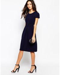 Love Textured Midi Dress With Pleat Detail - Lyst