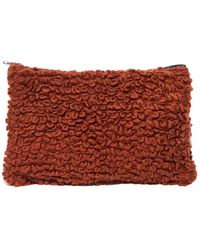 Pixie Market - Brown Chunky Knit Clutch - Lyst