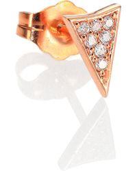 Sydney Evan Diamond & 14K Rose Gold Pave Triangle Single Stud Earring - Lyst
