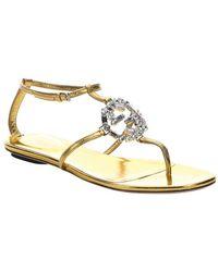 Gucci Old Gold Leather 'Gg' Crystal Sandals - Lyst