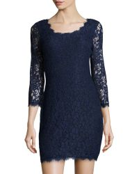 Diane Von Furstenberg Zarita Long-sleeve Lace Dress - Lyst