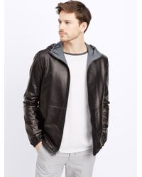 Vince Runa Light Hooded Leather Jacket in Black for Men | Lyst
