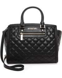 MICHAEL Michael Kors Selma Quilted Large Two Zip Satchel - Black - Lyst