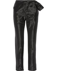 Isa Arfen Bow-embellished Silk-taffeta Slim-leg Trousers - Black