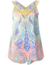 Emilio Pucci Abstract Print V-Neck Top - Lyst