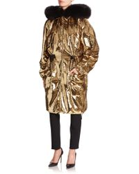 Moschino Sequined Techno Taffeta Jacket With Fur - Metallic
