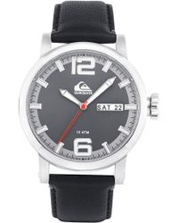 Quiksilver 'the Sentinel' Leather Strap Watch - Black