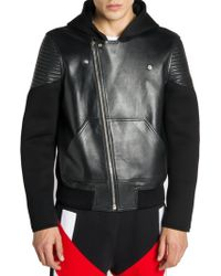 Givenchy Leather Moto Hoodie - Lyst