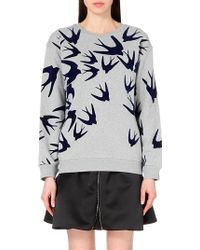 McQ by Alexander McQueen Classic Swallows Cotton-Jersey Sweatshirt - For Women - Lyst