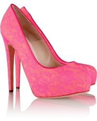 Brian Atwood Maniac Lace and Faille Pumps - Lyst