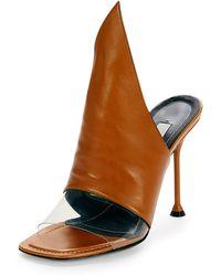 Balenciaga | Peaked Leather Mule Pumps | Lyst