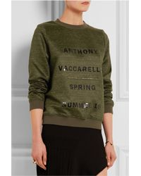 Anthony Vaccarello - - Printed Jersey Sweatshirt - Army Green - Lyst