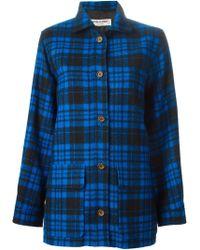Yves Saint Laurent Vintage Checked Jacket blue - Lyst