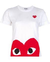 Comme Des Garçons  T-Shirt with Heart Print Hem - Lyst