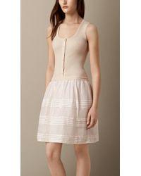 Burberry Pleat Detail Ramie Dress - Lyst
