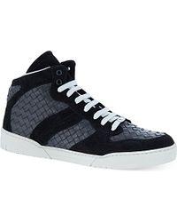 Bottega Veneta Intrecciato Leather High-Tops - For Men - Lyst