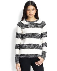 Cardigan | Maxine Space-Dye Striped Cotton & Cashmere Sweater | Lyst