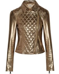 Temperley London Metallic Leather Biker Jacket - Lyst