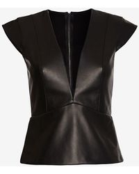 Mason by Michelle Mason Deep V Leather Front Top - Lyst