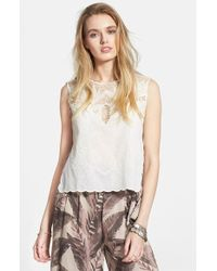 Free People 'Island In The Sun' Scalloped Voile Top - Lyst