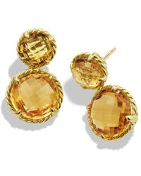 David Yurman Chatelaine Mini Doubledrop Earrings with Citrine in Gold - Lyst