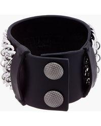 Balmain - Black Leather Layered Chain Bracelet - Lyst