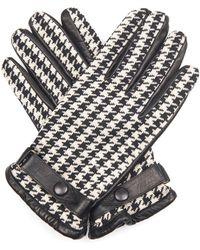Orley | Hound'S-Tooth Jacquard And Leather Gloves | Lyst
