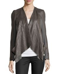 Donna Karan New York Draped Lambskin Leather and Jersey Jacket  gray - Lyst