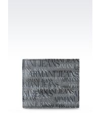 Armani Jeans Bi-Fold Wallet In Logo Patterned Leather - Lyst