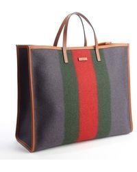 Gucci Grey Felt Web Stripe Tote Bag - Lyst
