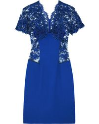 Christopher Kane Lace-paneled Wool-crepe Dress - Lyst