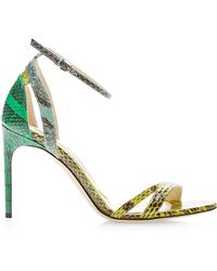 Brian Atwood Cora Snakeskin Sandals - Lyst