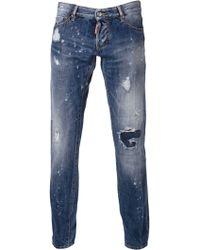 DSquared2 Distressed Slim Jeans - Lyst