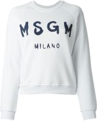 MSGM Logo Print Sweatshirt - Lyst