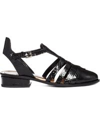 Markus Lupfer - Printed Leather Cut Out Flat Shoes - Lyst