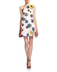 MSGM Printed One-Shoulder Dress - Lyst