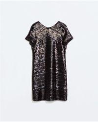 Zara Sequinned Striped Dress - Lyst