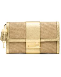 Michael Kors Gia Woven & Metallic Leather Clutch - Lyst