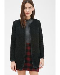 Dkny Coat Boucle Collarless A Line In Black Lyst