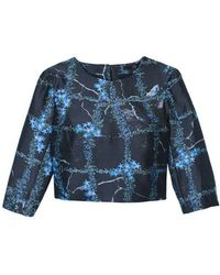 Tibi Windowpane Floral Cropped Top - Lyst