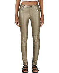 BLK DNM - Pewter Leather Moto Trousers - Lyst