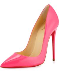 christian louboutin fluorescent patent leather pumps