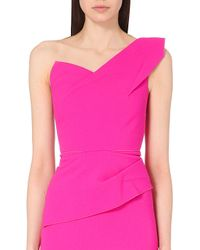 Roland Mouret Keiko One-Shoulder Wool-Crepe Top - For Women pink - Lyst