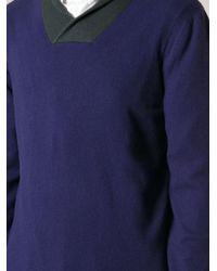Giorgio Armani Contrasting Shawl Collar Sweater - Lyst
