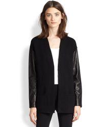 Ralph Lauren Black Label Leather-Sleeve Wool Cardigan - Lyst