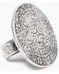 Zara Silver Round Ring - Lyst